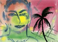 frauenportrait mit palme by stefan szczesny