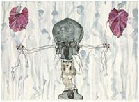 komposition mit totenschädel und weiblichen akten by cornelia schleime