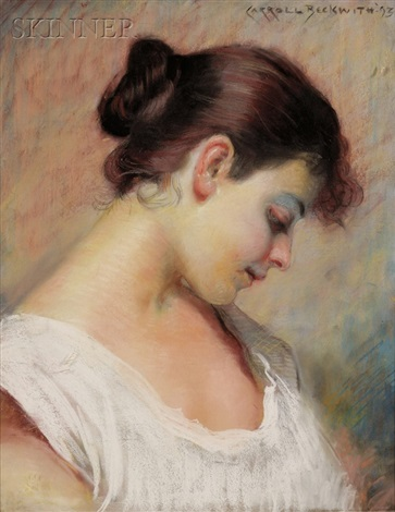 portrait head of a woman by james carroll beckwith