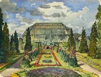 italienischer garten mit großem tropenhaus im botanischen garten berlin (+ 7 others; 8 works) by paul hauptmann
