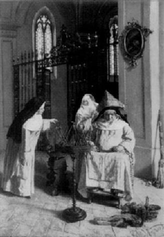 die beim wollewickeln eingenickte nonne by j vezzani