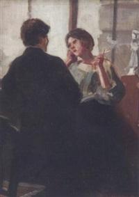 zwiegespräch mit zigarette by wilhelm ritterbach