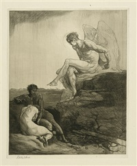 acht radierungen zu byrons kain (suite of 8 w/title and index) by rudolf jettmar
