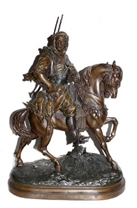 an arab on horseback by emile coriolan hippolyte guillemin and alfred barye