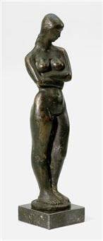 stehender weiblicher akt mit verschränkten armen by helge högbom