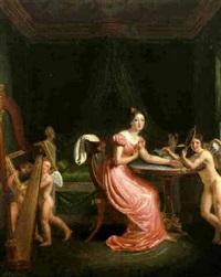 junge dame in ihrem schlafgemach by louis pierre spindler