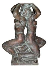 zwei kniende weibliche akte mit nach oben gehaltenen händen by walter schott