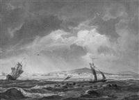 segelschiffe vor der küste bei cette in südfrankreich by ludwig franz karl bohnstedt