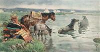 饮马 (horses drinking) by ha ding