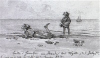 emilie u. sannchen am strand bei wyck by friedrich geselschap