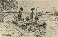 pont des arts avec remorqueurs by paul signac