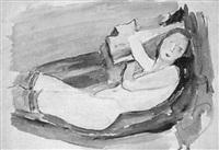 liegender weiblicher akt mit kniestrümpfen by joachim ragoczy