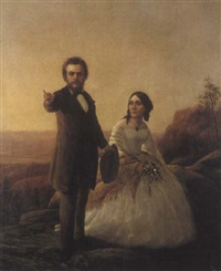 a portrait of a couple in a landscape with a valley beyond by william smith jewett