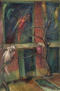 große voliere mit exotischen vögeln by lou (lazar) albert-lazard