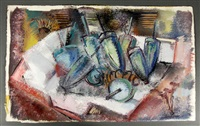 abstract scene of buoys on a ship deck by lamar (william) dodd