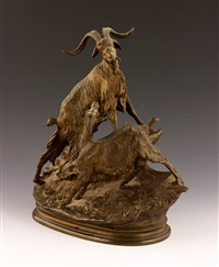 sculpture of mountain goats by jules moigniez