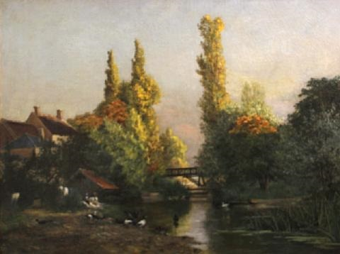 an extensive river landscape with washerwomen and ducks in the foreground by paul leon gagneau