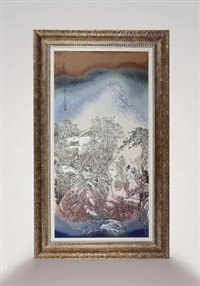 "高温色釉粉彩""三顾茅庐""瓷板 (three humble visits to a thatched cottage porcelain plaque) by rao xiaoqing"