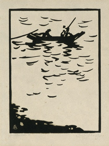 elbfischer boot auf der elbe by fritz bleyl