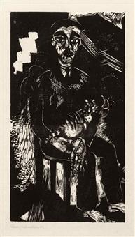 sitzender mann mit katze auf dem schoß by heinrich campendonk