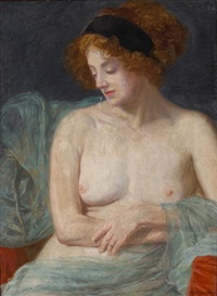 a draped semi-nude model (study) by friedrich könig