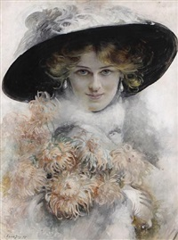 a portrait of a lady in a black hat with a bouquet of flowers in her arms by edouard bisson