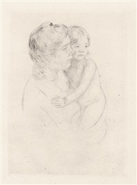 denise holding her child by mary cassatt