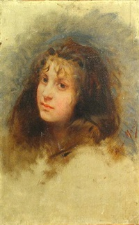 head of a young girl by aime nicolas morot