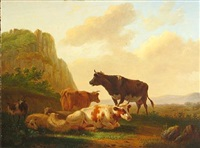 cattle and sheep resting in a landscape by matthijs quispel