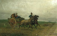 a horse cart and driver by giuseppe raggio