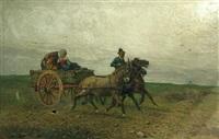 a horse cart and driver by giuseppe raggio