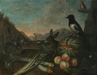 still life with fruit and animals by giacomo legi