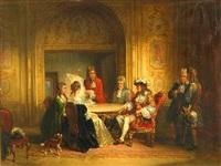 elegant figures around a table by henricus engelbertus reijntjens