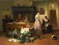 kücheninterieur eines herrschaftlichen hauses mit drei mägden by frans herman jacobs