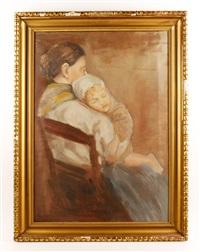 mother and sleeping child by paula modersohn-becker