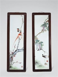 "粉彩""紫藤双燕""、""红梅绶带""长条瓷板 (二件) ('wisteria and double swallow' and 'plum with ribbon') (2 works) by liu yucen"
