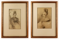 lot of two drawings to include: young woman looking down sitting under tree by emanuel gottlieb leutze