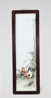 粉彩春色满园图长条瓷板 (liuyucen famille-rose'spring garden'porcelain plaque) by liu yucen