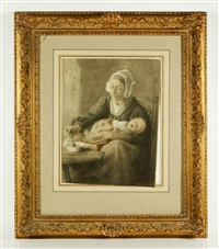 mother feeding infant by wally (walburga wilhelmina) moes