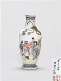 粉彩风尘三侠图瓶 (porcelain vase) by xu yunquan