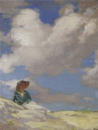 a woman resting on the dunes on a cloudy day by david livingston adam