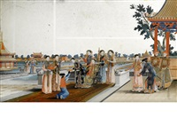 high ranking manchu ladies at leisure in a palace garden surrounded by attendants bearing luxurious porcelains and art objects by anonymous-chinese (18)