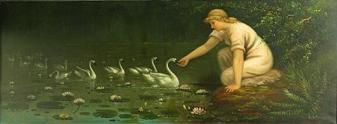 feeding the swans by astley david middleton cooper