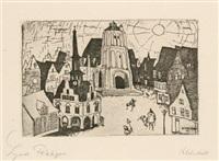 kleinstadt (from arno holz zum sechzigsten geburtstage gewidmet von deutschen künstlern) by lyonel feininger