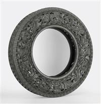 untitled (car tyre) handgeschnitzter autoreifen by wim delvoye
