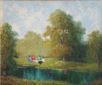 romantische landschaft mit personen am see by peter sohler
