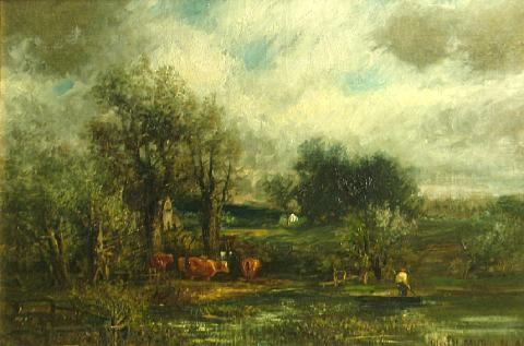 cattle watering in a stream by charles henry miller
