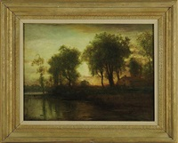 sunset river landscape with house by arthur parton