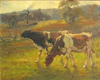 october, late afternoon (two cows in a field) by george glenn newell