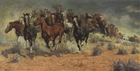 a mustang stampede by fernand harvey lungren